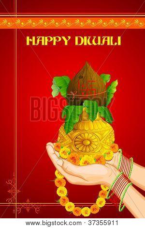 illustration of hand offering prayer holding Kalash