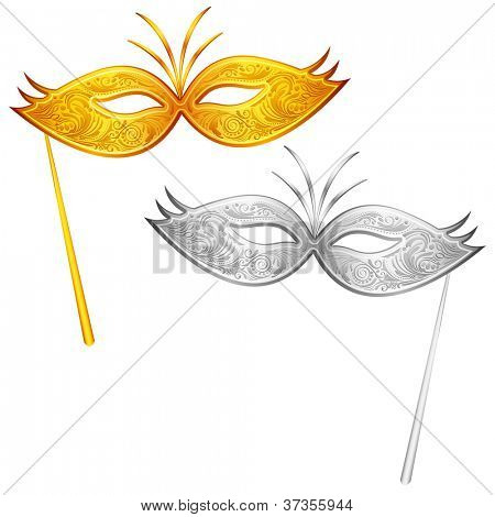 illustration of pair of gold and silver carnival mask