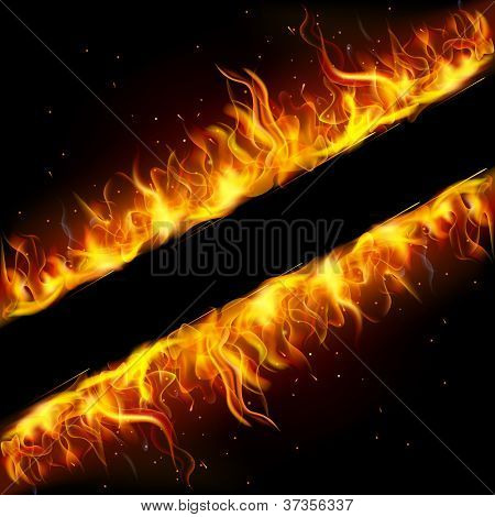 illustration of frame made of fire flame
