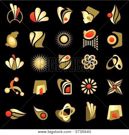 Vector Set Of Design Gold Elements