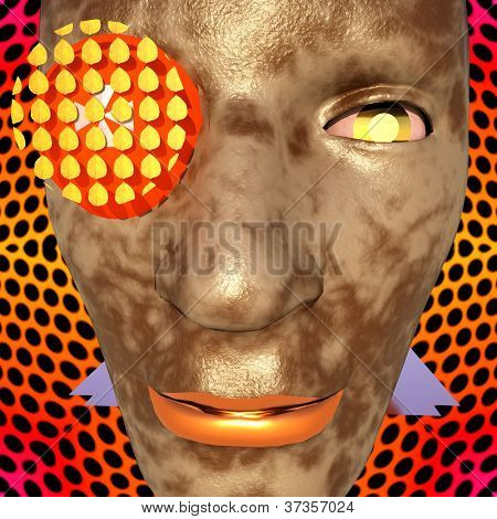 Cyborg's face close up  - abstract composition
