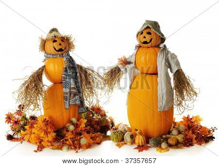 Two snowman-like pumpkin people, holding their bushy hands.  Each is surrounded by fall leaves, flowers and/or gourds.  On a white background.
