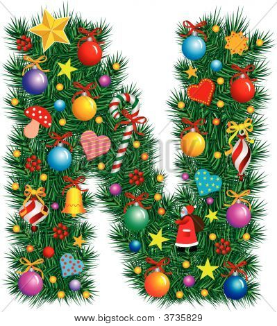 Alphabet letter n christmas decoration stock vector for Letter n decorations