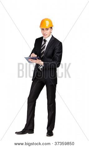 Making notes man in orange hard hat and suit, isolated on white