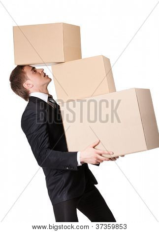Manager holding pile of pasteboard boxes, isolated on white