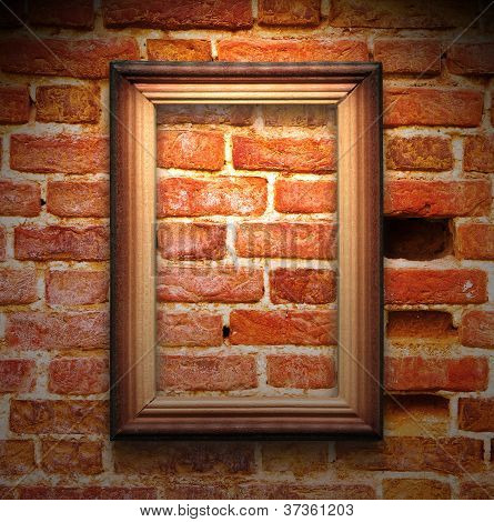 The Wood Frame On Brown Brick Wall