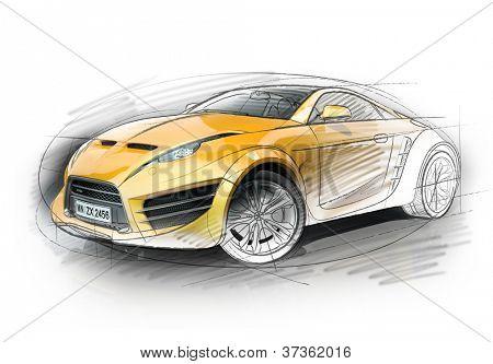 Concept car sketch. Original car design.