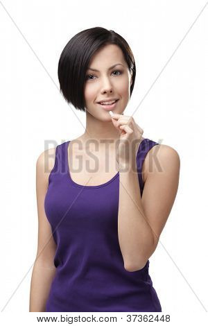 Woman takes capsules, isolated on white. Prescription medication