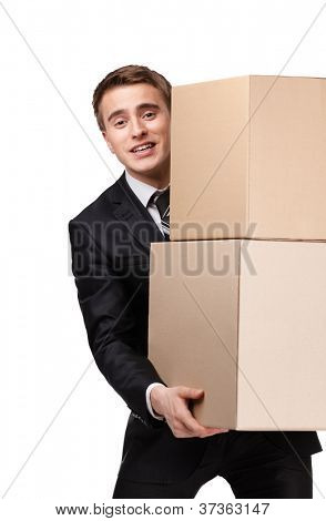 Manager keeping pile of pasteboard boxes, isolated on white