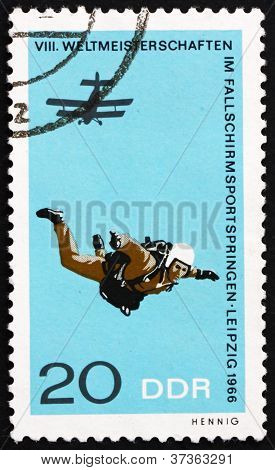 Postage stamp Germany 1966 Parachutist in Free Fall