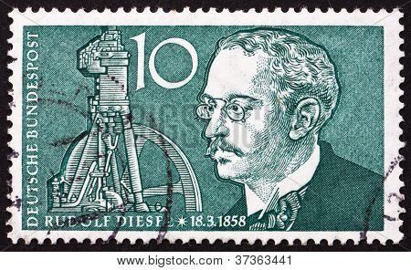 Postage stamp Germany 1958 Rudolf Diesel, Inventor