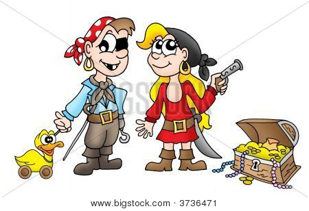 Pirate Kids With Duck And Treasure