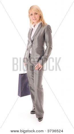 Portrait Of Happy Businesswoman With Red Bag