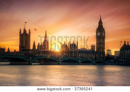 The Houses of Parliament and Big Ben at sunset