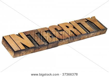 integrity - isolated word in vintage letterpress wood type