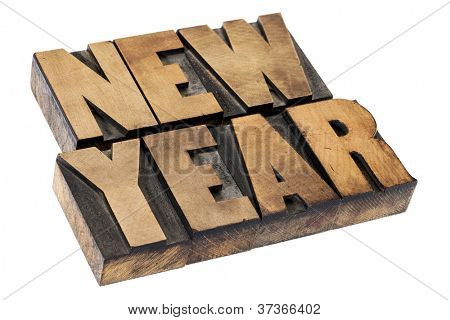 New Year  - isolated text in vintage letterpress  wood printing blocks