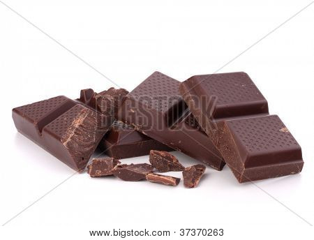 Chopped chocolate  bars  isolated on white background