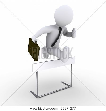 Businessman Jumping Over Obstacle