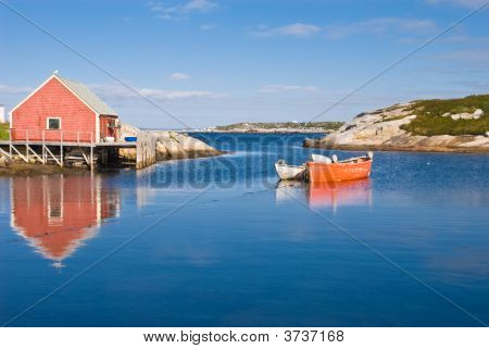 Fisherman\'S House And Boats.