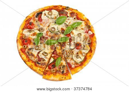 Healthy vegetables and mushrooms vegetarian pizza isolated on white background