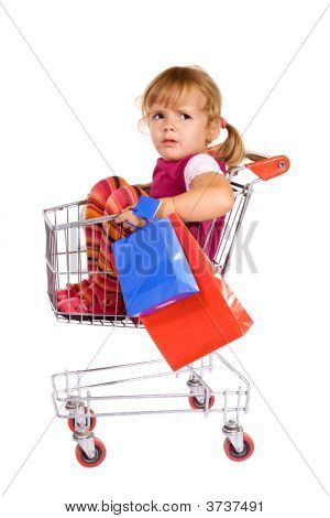 Little Girl Tired Of Shopping