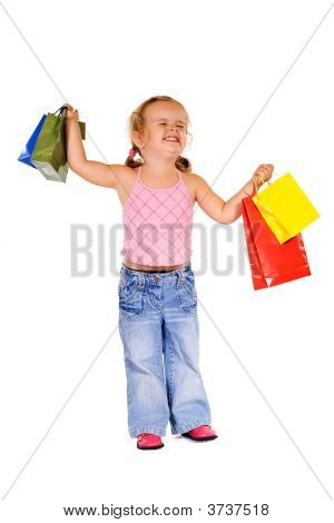 Extremely Happy Shopper Girl