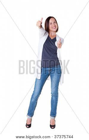 pleased young woman showing thumbs up and smiling. isolated on white background