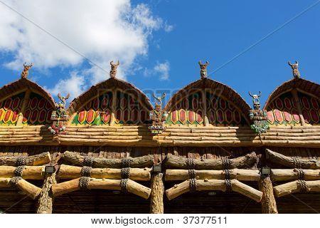 Antique indigenous temple against blue sky