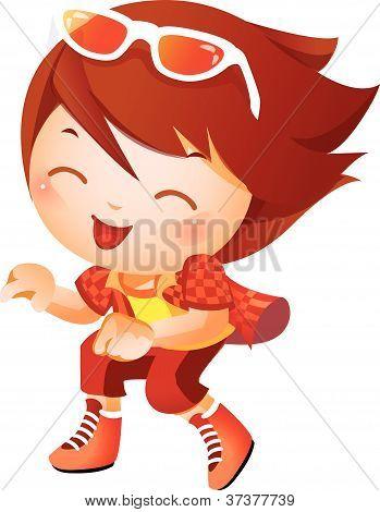 Girl wearing baseball outfit