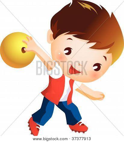 Boy holding bowling ball