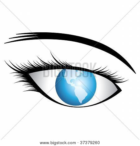 Illustration Of Human Eye With World As Iris Conceptually Representing World Vision Or Universal Vis
