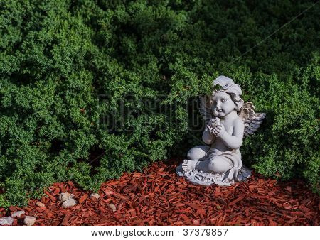 Lawn Cherub And Dove