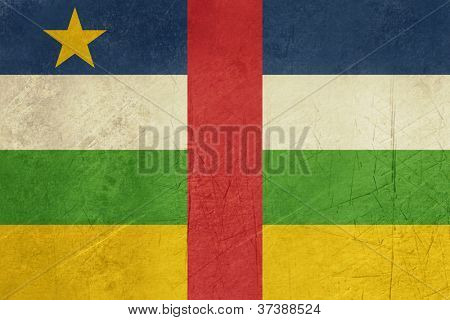 Grunge sovereign state flag of country of Central African Republic in official colors.