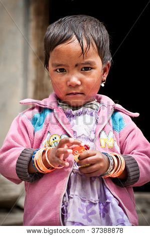 Lahoul Valley Village, India - September 06: Tibetan Little Girl From Himalayan Village In India Wit