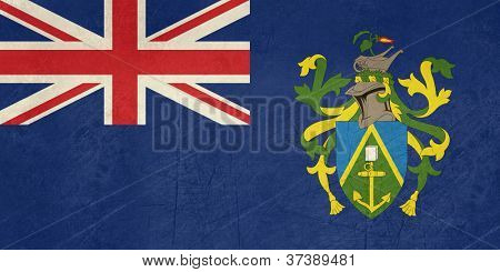 Grunge sovereign state flag of dependent country of Pitcairn Islands in official colors.