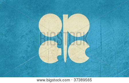 Grunge OPEC or oraganization of oil exporting countries flag.