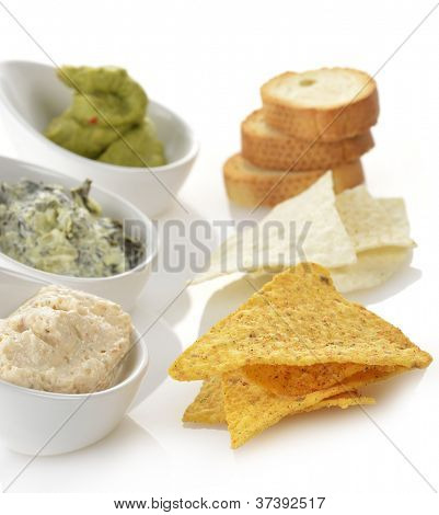 Dips With Corn Chips And Toasts