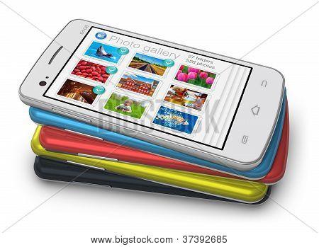 Set van touchscreen smartphones