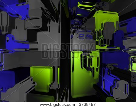 Blue And Green And Gray Alien Fantasy Construction