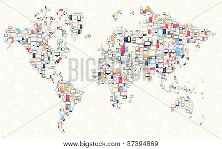 Gadgets Icons World Map Illustration