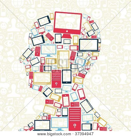 Social Media Gadgets Icons Man Head