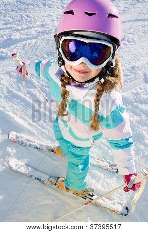 Skiing, winter - kid on ski holidays
