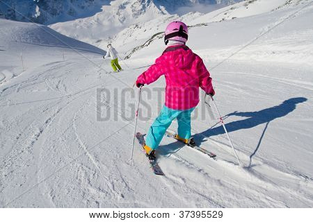 Skiing, winter, ski lesson - kid on mountainside