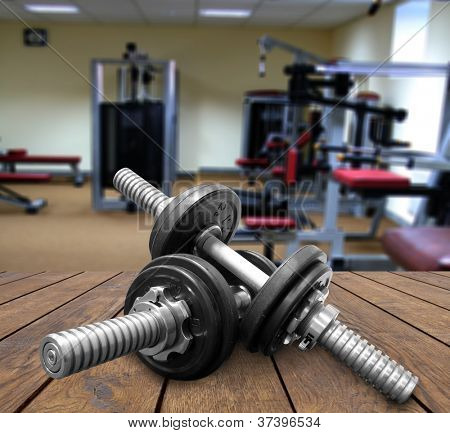 a gym Weights, and stationary equipment