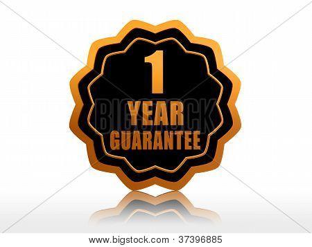 One Year Guarantee Starlike Label.