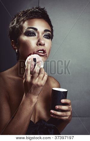 Woman Powders Her Face