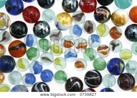Close Up Of A Bunch Of Marbles.