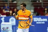 KUALA LUMPUR - SEP 27:Albert Ramos of Spain reacts after a shot played at the ATP Tour Malaysian Ope