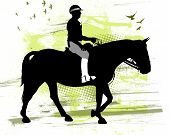 stock photo of nypd  - Silhouette of a cop with his horse - JPG