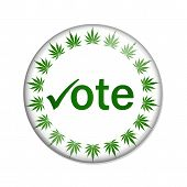pic of marijuana leaf  - A white button marijuana leafs and word vote isolated on a white background Vote to legalize marijuana button - JPG